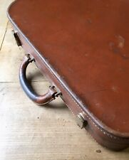 Antique Leather Suitcase Travelling Case Bag Tan Leather Hand Stitched Vintage