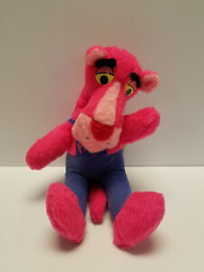 """Vtg 1980 Pink Panther plush Think Pink stuffed toy blue overalls Mighty Star 15"""""""