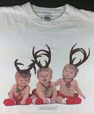 Vintage Mens L 90s Anne Geddes Christmas Reindeer Babies Portrait White T-Shirt