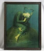 """Vintage """"Hope"""" Framed Print by George Frederic Watts ~ © 1925 Borin Chicago"""