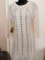 ZARA Cable Chevron Knit Jumper Dress Beige SMALL Italian mohair wool blend