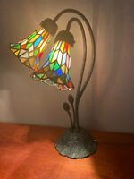 Pond Lily Tiffany Style 2 Light Table Lamp w/ Leaded Stained Glass Shades