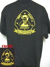 2ND RECON BN T-SHIRT/ BLACK/ FOREST GREEN/ GOLD/ MILITARY/ USMC/ VETERAN/ NEW