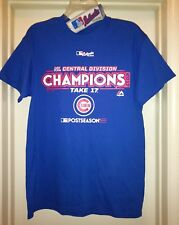 Authentic MLB Chicago Cubs T Shirt Majestic NLCD Champs Locker Room Mens L NWT
