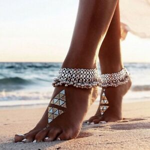 Silver Bells Ankle Bracelet Multi Layer Women Anklet Adjustable Chain Beach Bead