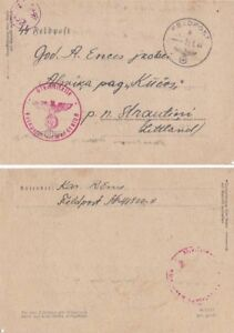 WW2 German Arny Latvian volunteer AS censor used for S S writing to Latvia