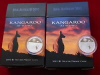 AUSTRALIA.  2010 & 2011 - $1 Kangaroo at Sunset - 1/5oz Silver Proofs.. Cased