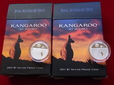 AUSTRALIA.  2010 & 2011 - $1 Kangaroo at Sunset - 1/5oz Silver Proofs.. Cased