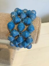 Life Style Tribal Fashion Bracelet Thick Blue Stretch Bead For