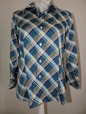 Foxcroft Wrinkle Free Fitted Fit Button Down Shirt Purple Plaid Career 10P EUC
