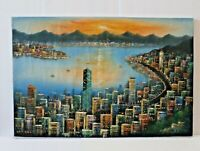 Original Vintage Reuben Tam Oil Cityscape Ocean Front Asian Style Painting China
