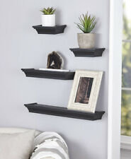 Classic 4-Pc Floating Wall Shelf Set Home Decor Plant Candle Picture Black Gift