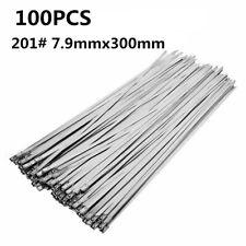 100PCS Stainless Steel 7.9mm*300mm Metal Locking Cable Ties Zip Marine Grade