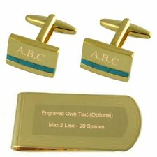 Blue Turquoise Gold-Tone Cufflinks Money Clip Engraved Gift Set