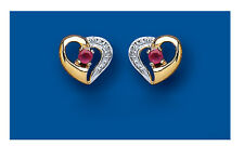 Ruby Heart Stud Earrings Yellow Gold Solid 9 Carat Hearts Studs