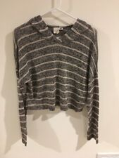 Women's LA Hearts Black & Beige Stripe Crop Long Sleeve Sweater Hoodie Size S