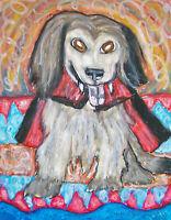 8x10 PRINT OF PAINTING KSAMS HALLOWEEN FOLK Vampire Mix Dog VINTAGE STYLE ART