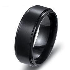 Women Man Stainless Steel Titanium Wedding Band Ring Black Gold Silver Size 7-12