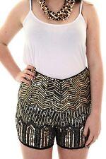 Women's High Waist Sequin Beaded Aztec Tribal Zig Zag Ladies Shorts Hot Pants