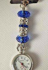 Royal blue  crystal , flower glass beads Watch nurse fob uniform pocket brooch