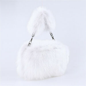 Women Winter Genuine Fox Fur Shoulder Bag Large Tote Clutch Purse Handbag