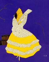 1930s French Pochoir Artdeco Print Spain Dancer Long Yellow Dress Signed E.H.