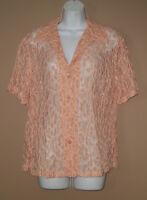 Womens Size Medium Short Sleeve Summer Fashion Solid Peach Floral Lace Shirt Top