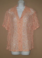 Womens Size Medium Short Sleeve Summer Fashion Solid Peach Floral Lace Shirt Top