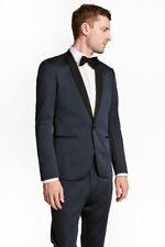 NEW H&M Men's SKINNY FIT Tuxedo Jacket Dark Blue and Black Size 42R MSRP $129