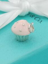 Tiffany Pink Enamel Pink Cupcake Cup Cake Charm Pendant 4 Bracelet / Necklace