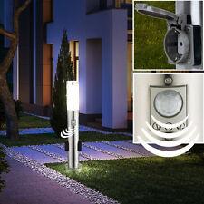 Steh Lampe Garten Sockel Beleuchtung Bewegungssensor 2x Außen Steckdosen Leuchte