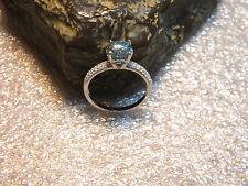 1.50 Ct. VVS1 Swiss Blue European Cut Moissanite/Pave.925 Silver Ring Size US8