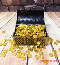 1/6 Scale Soldier Scene Accessories Pirate Treasure Chest+100Pcs Gold Coin Model