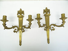 Two Vintage Used Solid Brass Metal Heavy Two Arm Wall Sconce Candle Holders Old