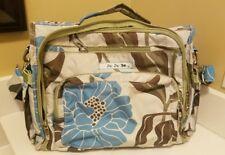 Ju Ju Be Convertible Diaper Bag Backpack Green Blue Floral Baby Girl or Boy GUC