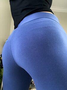 Adidas  Blue Mesh leg Workout Womens Cotton High Rise Leggings size Medium M