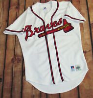 100% Authentic Russell Athletic Atlanta Braves Home Jersey SZ 40 Medium