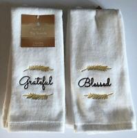 Grateful Blessed Fingertip Towels Embroidered Set of 2 Guest Bathroom