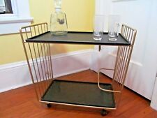Bar Cart Vtg Gold Mid Century Modern Rolling Metal Hollywood Mini Bar trolley
