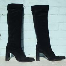 Marilyn Anselm Suede Leather Boots Uk 4 Eur 37 Womens Pull on Hobbs Black Boots