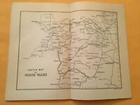 KZ) 1885 Black's Railway Guide Sketch Map of North Wales Cardigan Original Map