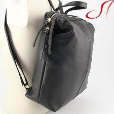 Echt Leder Rucksack schwarz Backpack Ital. Lederrucksack Umhängetasche Damen NEU