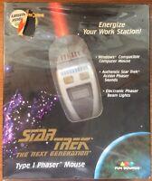 Brand New Sealed Vintage 1997 Star Trek The Next Generation Type 1 Phaser Mouse