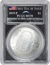 2019-P Apollo 11 50th Ann Commem Silver Dollar Pcgs Ms70 Fdoi Earth Rising Moon