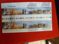 1998  FARMING AUST FDC WITH  GUTTER STRIP OF 10 AFFIXED CANCELLED  FDI