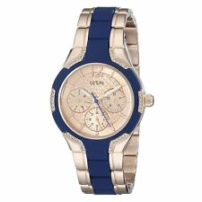 Guess U0556L5 Women's Blue Silicone & Rose Gold SS Bracelet Watch