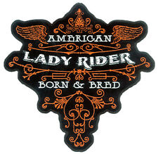 EMBROIDERED LADY RIDER BORN & BRED PATCH 3300 patches motorcycle badges NEW