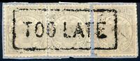 "TRANSVAAL 1885 ""TOO LATE"" large, boxed very fine piece of cover with 3 x 1/2 d"