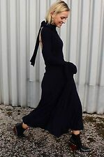 BNWT H&M Trend Ribbed Knit Maxi Dress With Flounces Cut Out Back Navy EU38 RARE