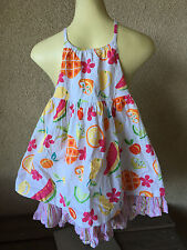 Gymboree Sun Dress Watermellon Lemons Lime White Fruit 4 Yrs Girls Stripes CUTE